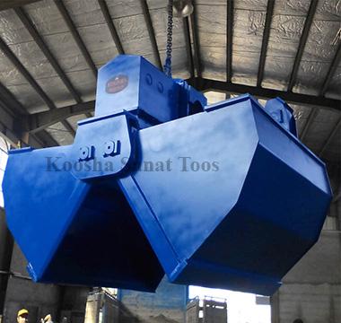 چنگک(گراب) هیدرولیکی موتوری دبل اسکوپ کوشا صنعت توس طراح و سازنده انواع گراب Dual Scoop motor hydraulic grab